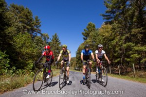 Event founder, Jeremiah Bishop (second from left), and other cyclists are seen riding during the 2017 Alpine Loop Gran Fondo